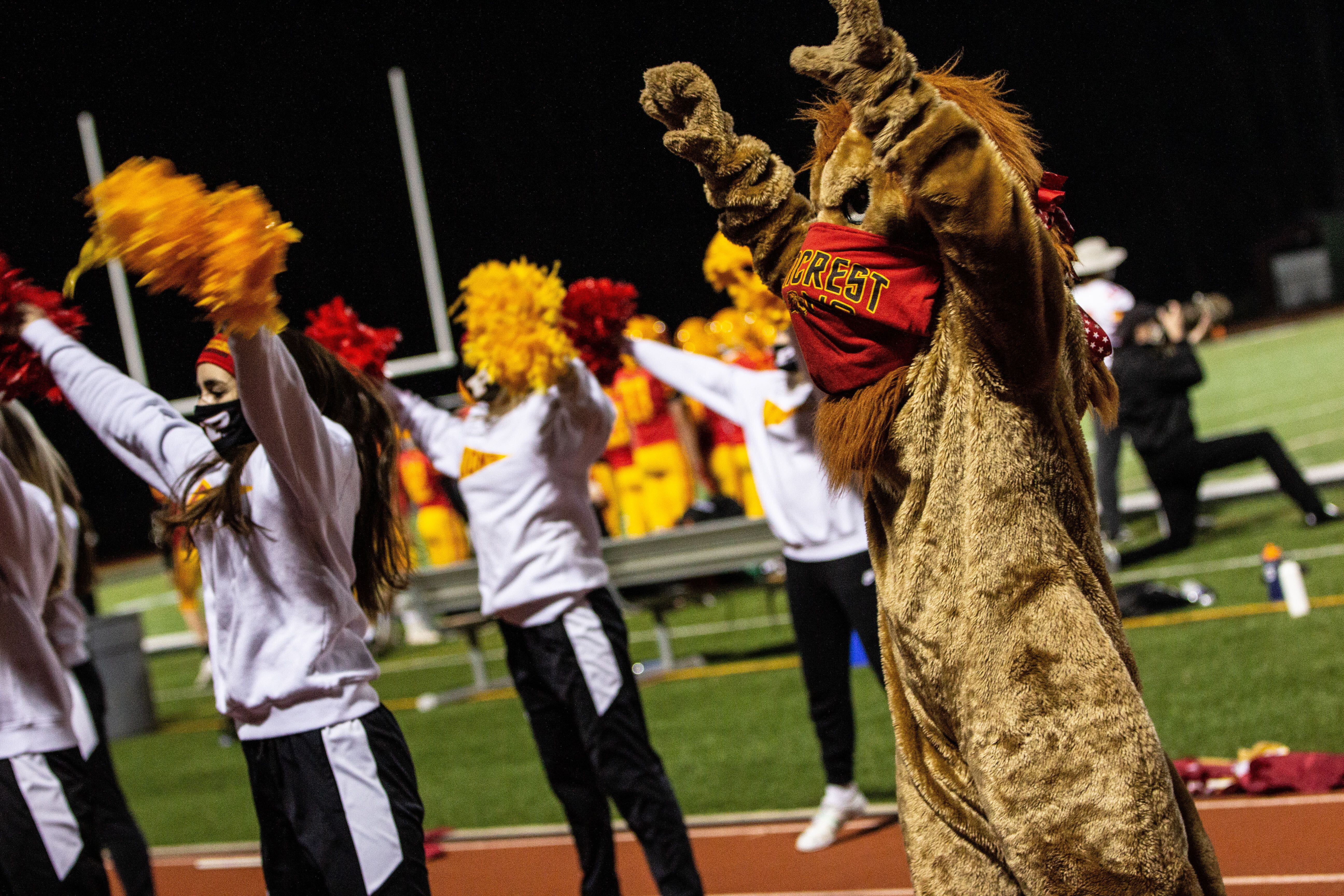 Even Penncrest High School's mascot wore a mask at Friday's Media Bowl.