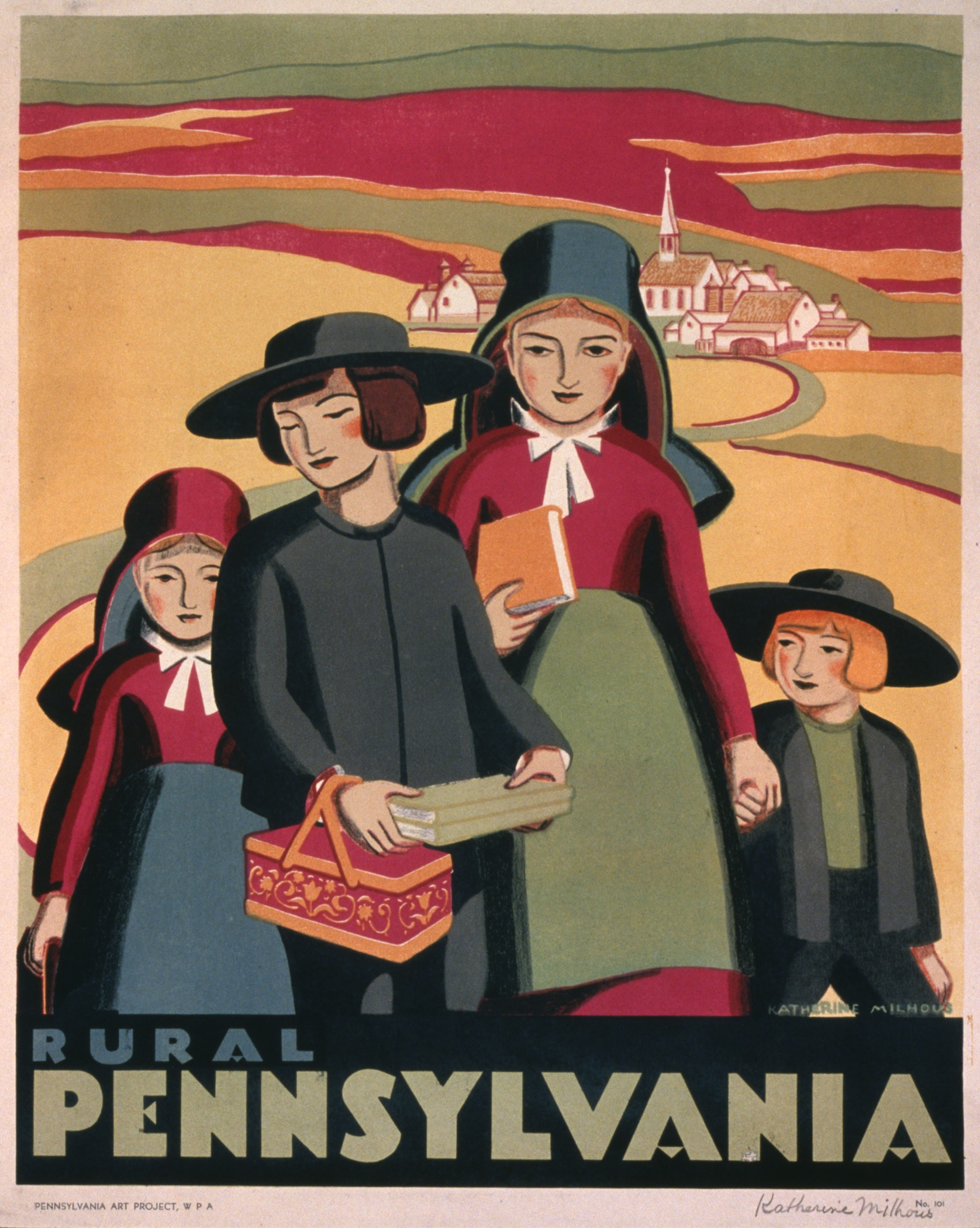 A WPA poster depicting an Amish family