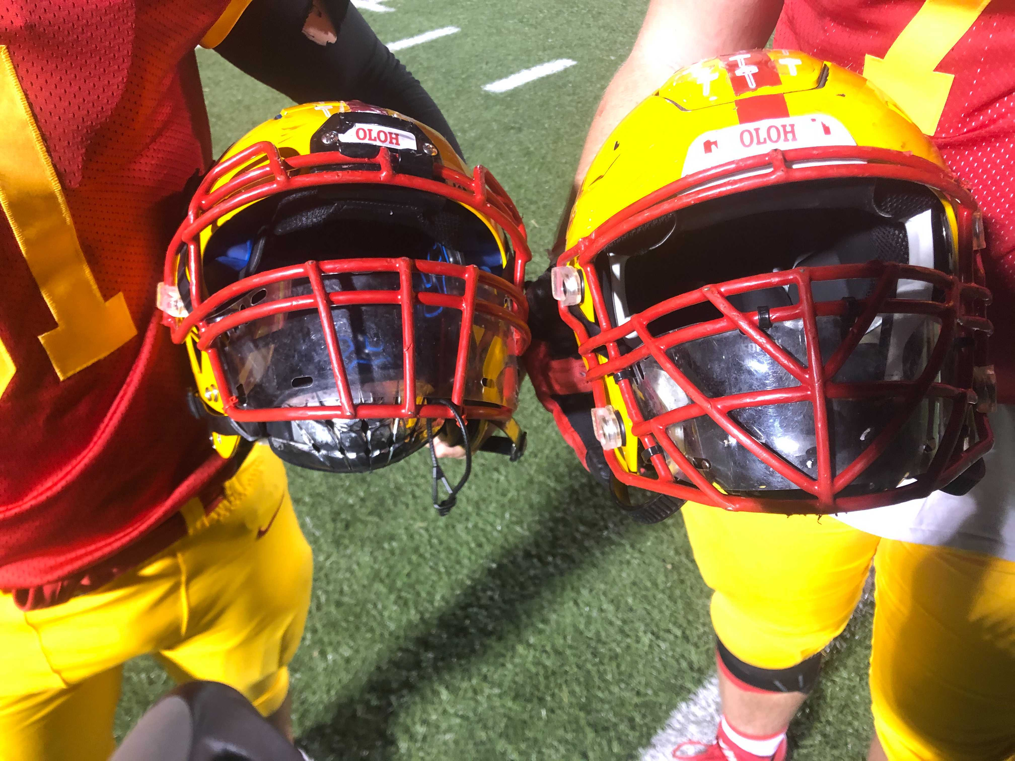 Penncrest's helmets were required fixed with plastic visors during the Media Bowl