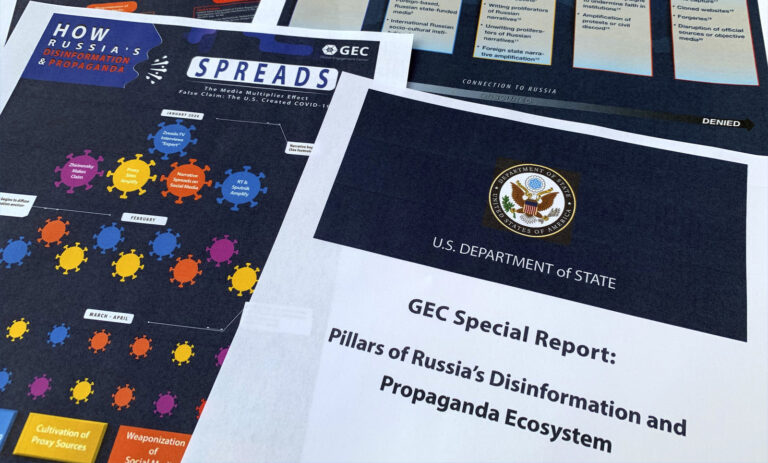 Pages from the U.S. State Department's Global Engagement Center report