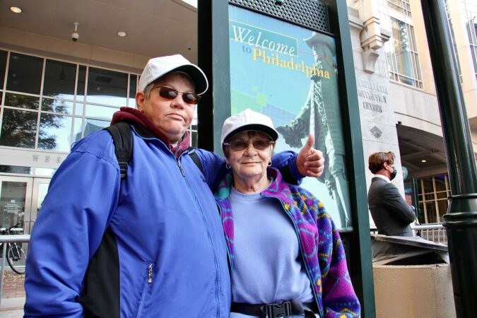 Michele Bodine and Pat Ellis of Lansfiord, Pa., traveled to Philadelphia to protest what they think is the illegal counting of votes at the Pennsylvania Convention Center in Philadelphia.
