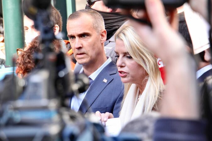 Trump operatives Pam Biondi and Corey Lewandowski arrive at Pennsylvania Convention Center, where Philadelphia votes are being counted, armed with what appears to be a court order.