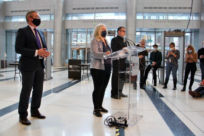 Philadelphia City Commissioners Lisa Deeley and Al Schmidt update the media on ballot-counting progress at the Pennsylvania Convention Center.