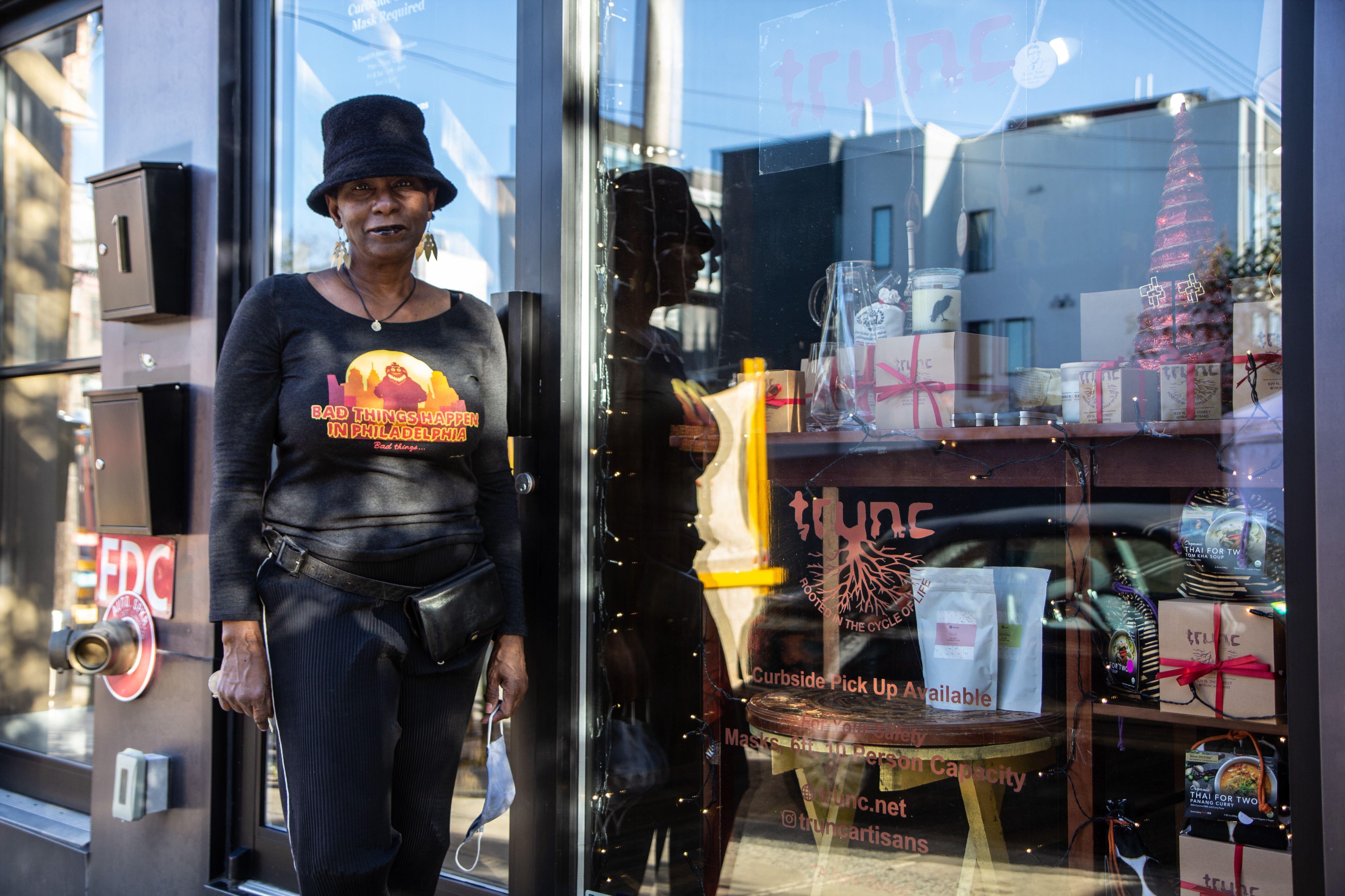 Dorothea Gamble in front of her store Trunc in Northern Liberties.