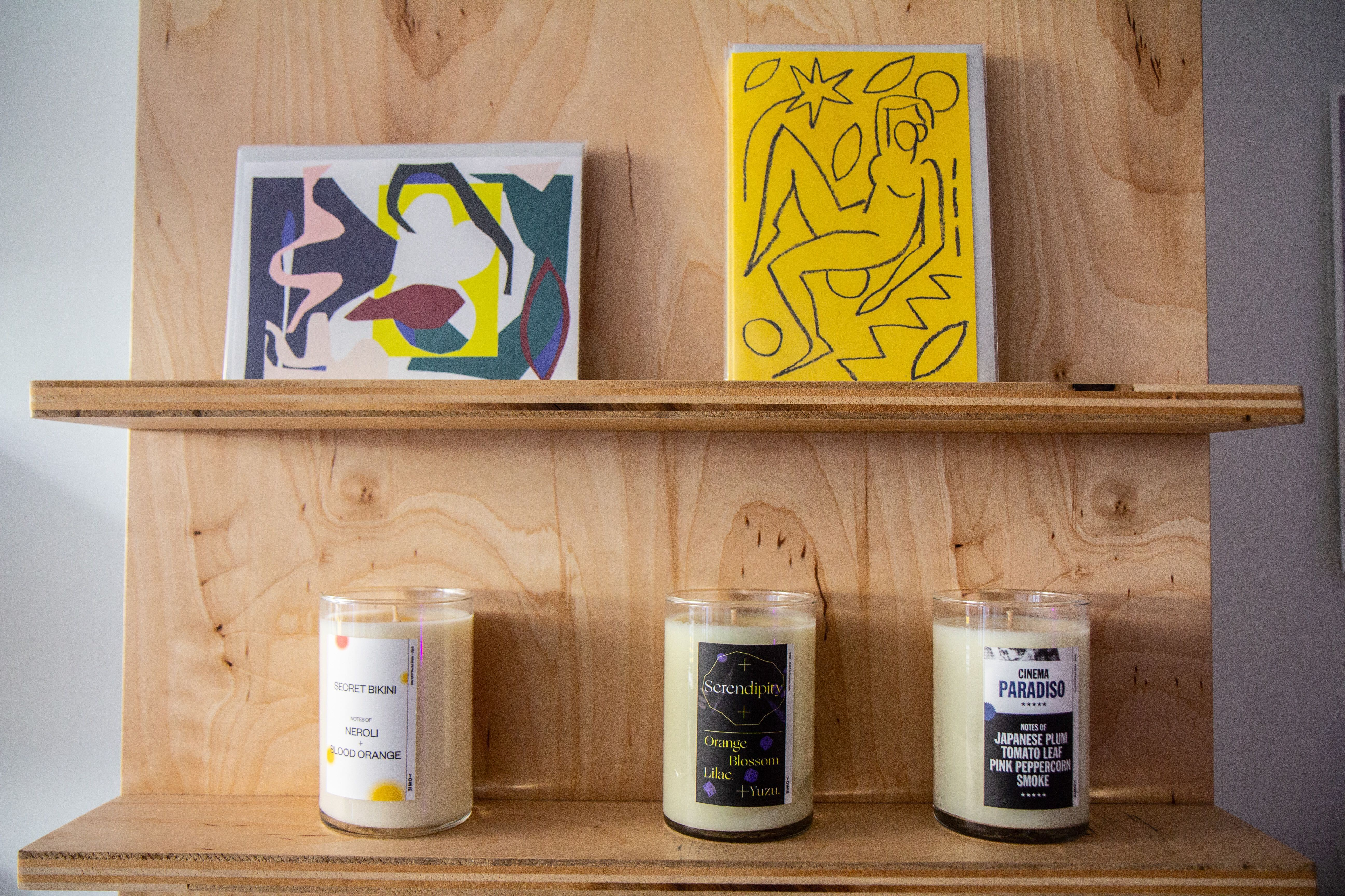 Stationery and candles for sale at YOWIE in South Philadelphia.