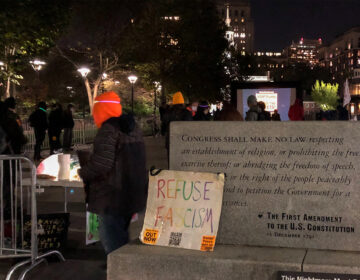 Activists held an election night rally in front of Independence Hall in Old City, Philadelphia. (Michaela Winberg/Billy Penn)