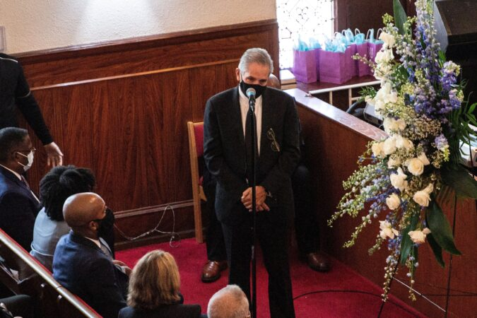 Philadelphia District Attorney Larry Krasner gives remarks at the funeral of Walter Wallace Jr. on Saturday.