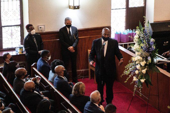 U.S. Rep. Dwight Evans spoke at the funeral of Walter Wallace Jr. Saturday morning.