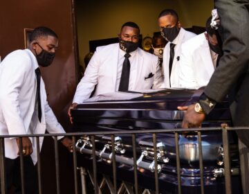 Walter Wallace Jr.'s casket is moved out of New Temple Baptist Church in North Philadelphia.
