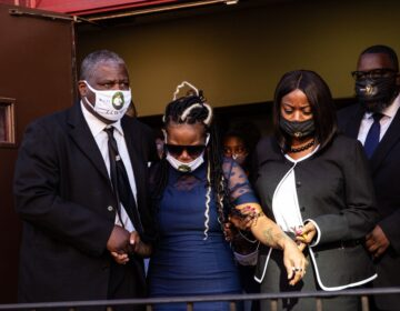 Dominique Wallace (center) leaves the funeral of her late husband, Walter Wallace Jr.