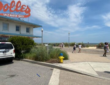 The Dolles sign atop the salt water taffy story has been a landmark in Rehoboth Beach for more than a half-century. (Butch Comegys for WHYY)