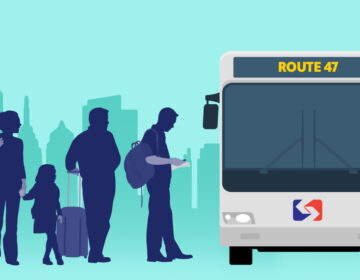 An illustration of people waiting to board SEPTA's Route 47 bus in Philadelphia.