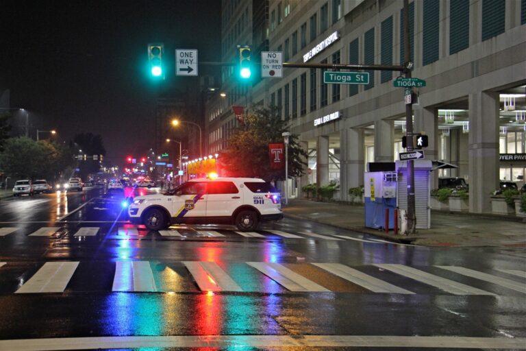 Police stop traffic on Broad Street outside Temple University Hospital. (Emma Lee/WHYY)