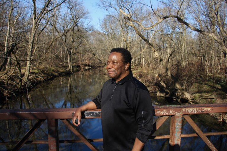 Composer Randy Gibson walking the trails of Tacony Creek Park