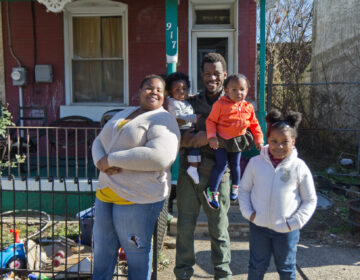 Kendra Bowden-Ponder, her husband Quan and their three children Ja'Lissa, 6, Jordyn, 1, and Kayleb, 10 months, are facing eviction. (Kimberly Paynter/WHYY)