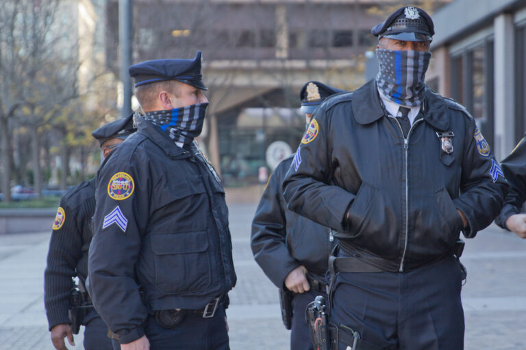 Philadelphia police outside the federal courthouse. (Kimberly Paynter/WHYY)