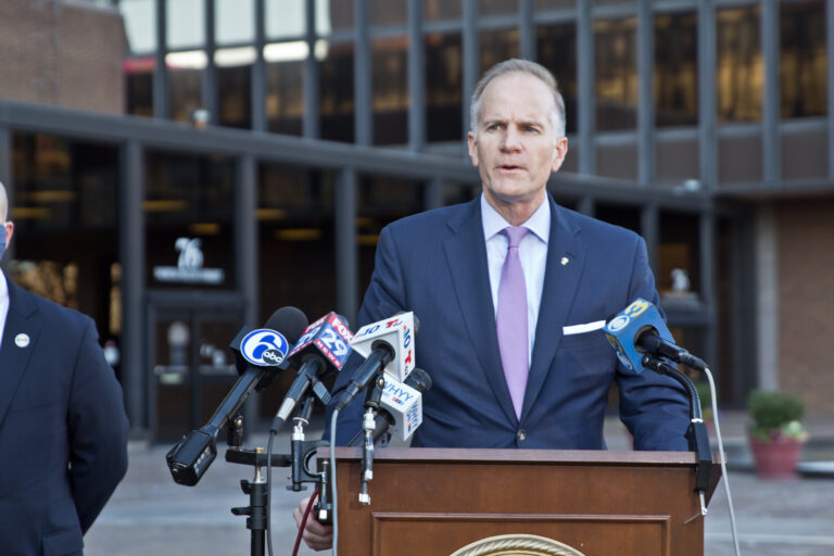 U.S. Attorney William McSwain outside the federal courthouse in Philadelphia. (Kimberly Paytner/WHYY)