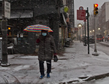 Snow falls in Old City in Philadelphia during a snow storm