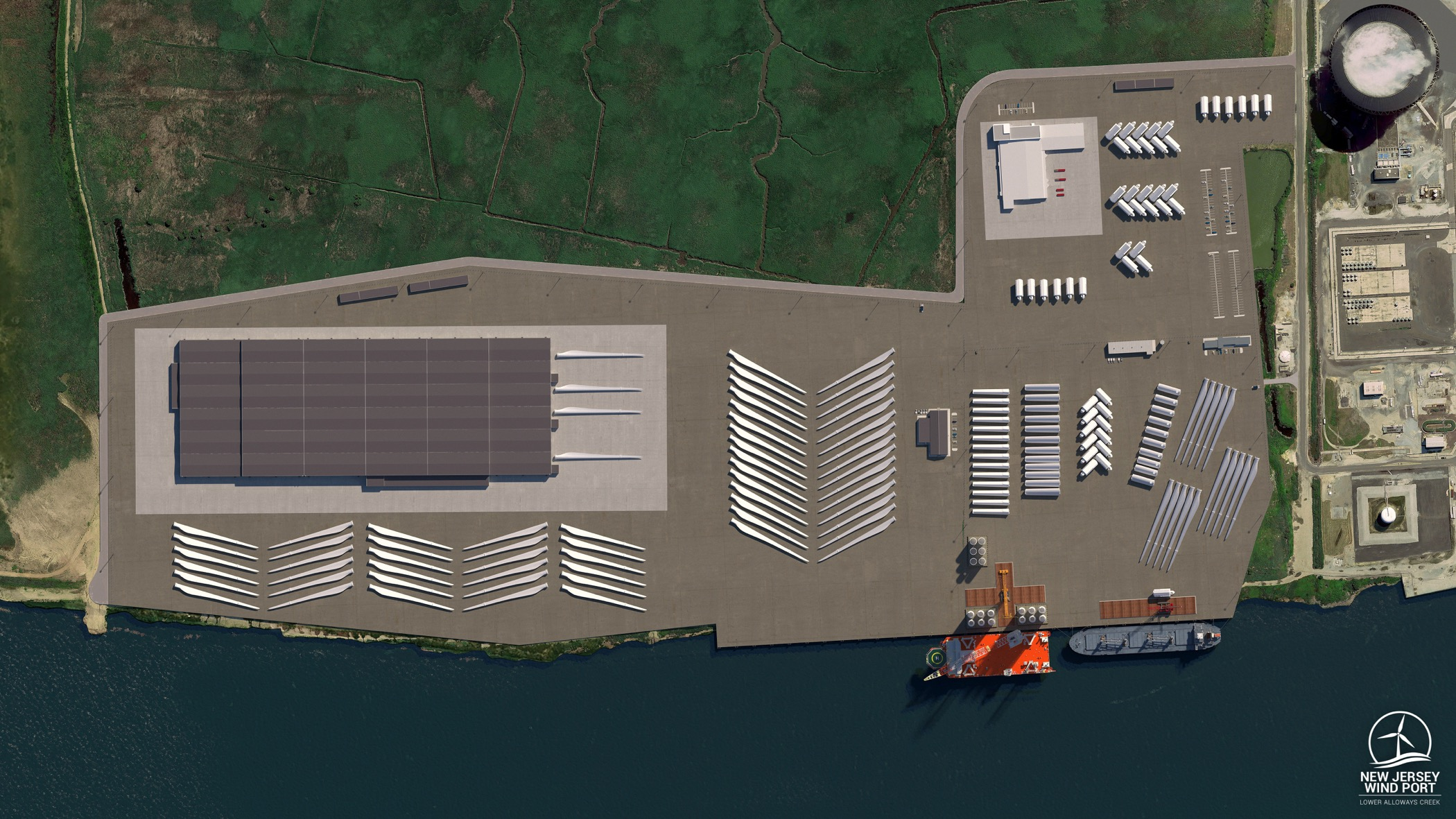 A rendering shows an overhead view of the planned 30-acre marshalling port for the New Jersey Wind Port on Artificial Island in Lower Alloways Township and 130+ acres of adjacent manufacturing space.