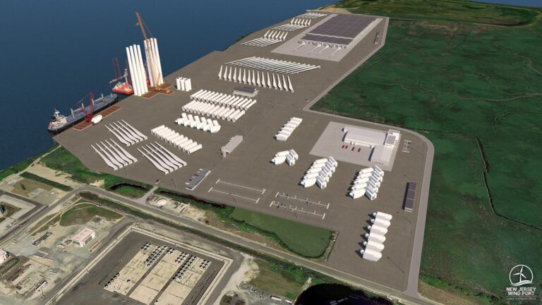 A rendering shows a southern view of the planned 30-acre marshalling port for the New Jersey Wind Port on Artificial Island in Lower Alloways Township and 130+ acres of adjacent manufacturing space.