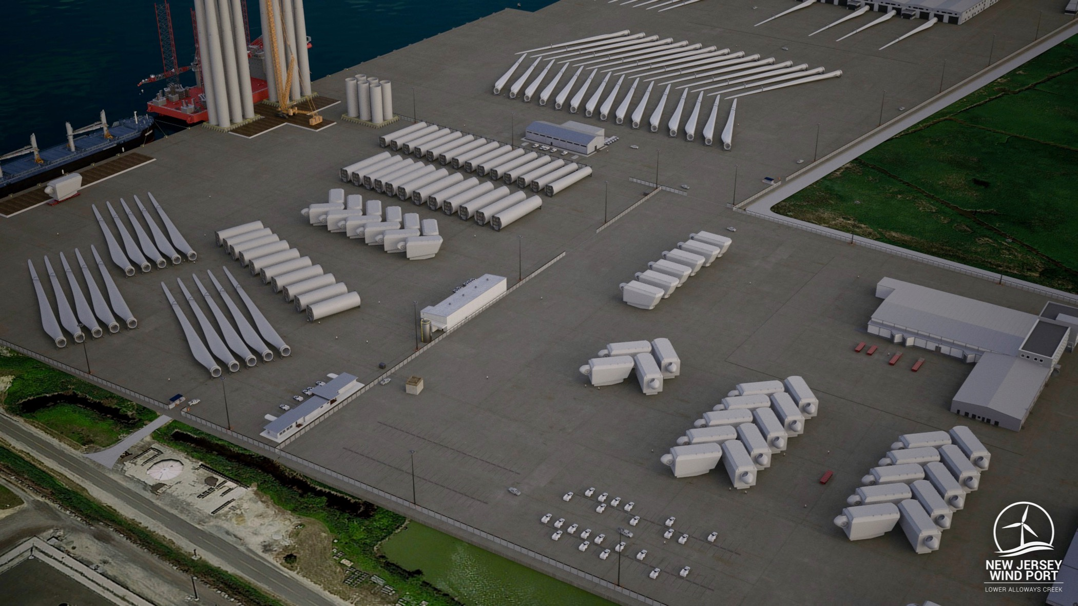 A rendering shows offshore wind turbine components being manufactured, assembled, and staged for shipping to their final destination in the ocean. Blades are more than 350 feet in length, more than the length of a football field.