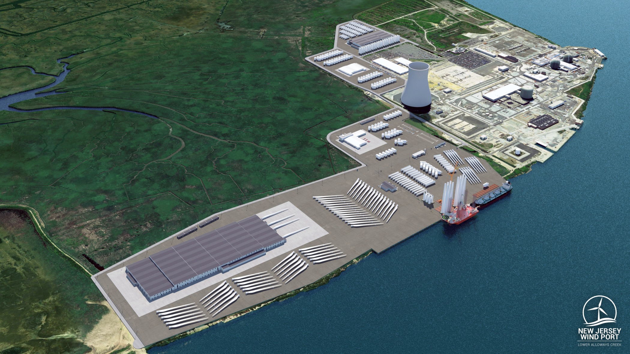 A rendering shows an overhead view of full build out of the Wind Port of New Jersey marshalling and manufacturing port.