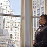 Rochelle Bilal looks out a window