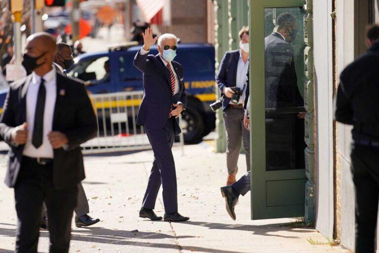 Biden arrives at The Queen last month. (AP Photo)