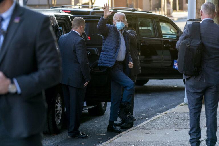 President-elect Joe Biden arrives at The Queen theater, Wednesday, Dec. 2, 2020, in Wilmington, Del. (AP Photo/Andrew Harnik)