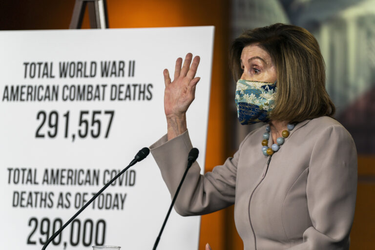 House Speaker Nancy Pelosi of Calif., speaks during a news conference at the Capitol, Thursday, Dec. 10, 2020, in Washington.  (AP Photo/Manuel Balce Ceneta)