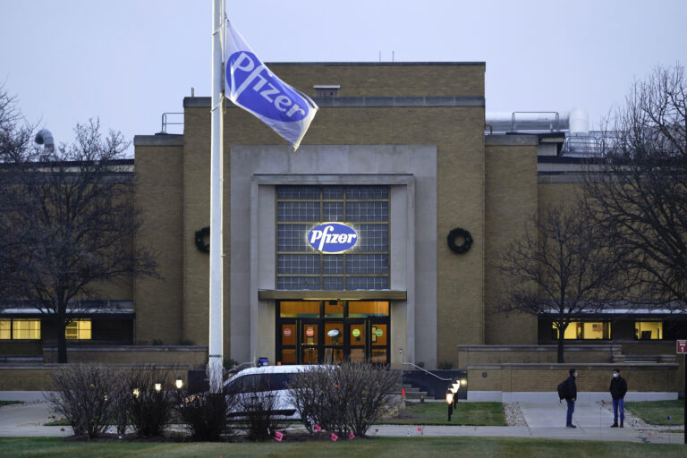 The Pfizer Global Supply Kalamazoo manufacturing plant is shown in Portage, Mich., Friday, Dec. 11, 2020. (AP Photo/Paul Sancya)