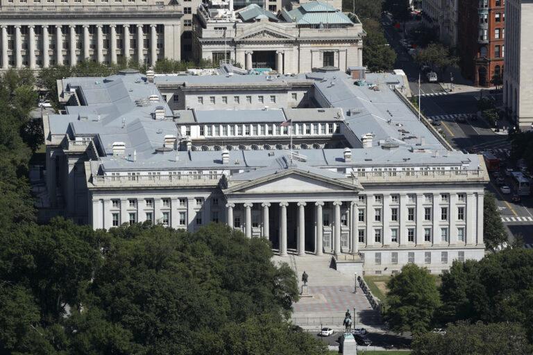 The U.S. Treasury Department building viewed from the Washington Monument, Wednesday, Sept. 18, 2019, in Washington. (AP Photo/Patrick Semansky)
