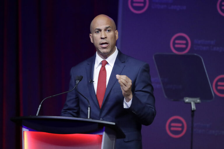 Then-Democratic presidential candidate Corey booker speaks during the National Urban League Conference  in Indianapolis, in this Thursday, July 25, 2019, file photo. (AP Photo/Darron Cummings)