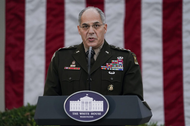 In this Nov. 13, 2020, file photo Army Gen. Gustave Perna, who is leading Operation Warp Speed,speaks during at an event in the Rose Garden of the White House in Washington. (AP Photo/Evan Vucci)