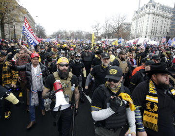 Supporters of President Donald Trump who are wearing attire associated with the Proud Boys attend a rally at Freedom Plaza,