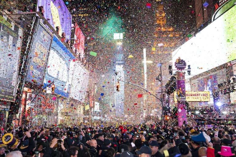 Confetti falls at midnight on the Times Square New Year's Eve celebration in New York
