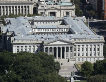 The U.S. Treasury Department building viewed from the Washington Monument