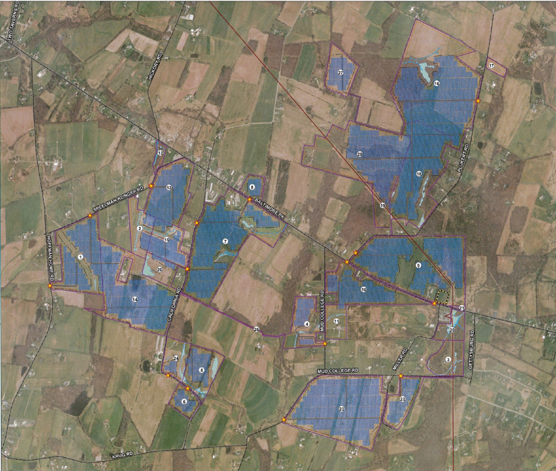 A map of where the proposed Brookview solar plant would sit