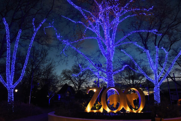 The Philadelphia Zoo is aglow with blue lights to thank frontline workers. (Photo by Hughe Dillon)