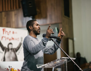 Dante Jones speaking at the People's Hearing at Eastern State Penitentiary in January