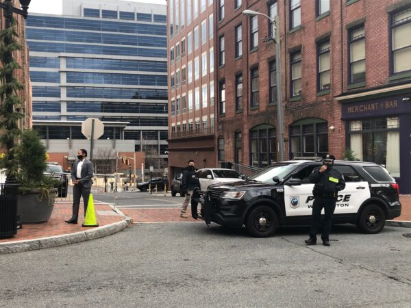 Wilmington police have been front and center since the inauguration. (Cris Barrish/WHYY)