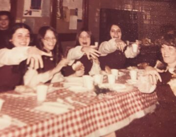 Joanne McLaughlin (at right, back row) and some classmates at a long-ago Ring Day celebration at Little Flower Catholic High School for Girls. (Courtesy of Joanne McLaughlin)