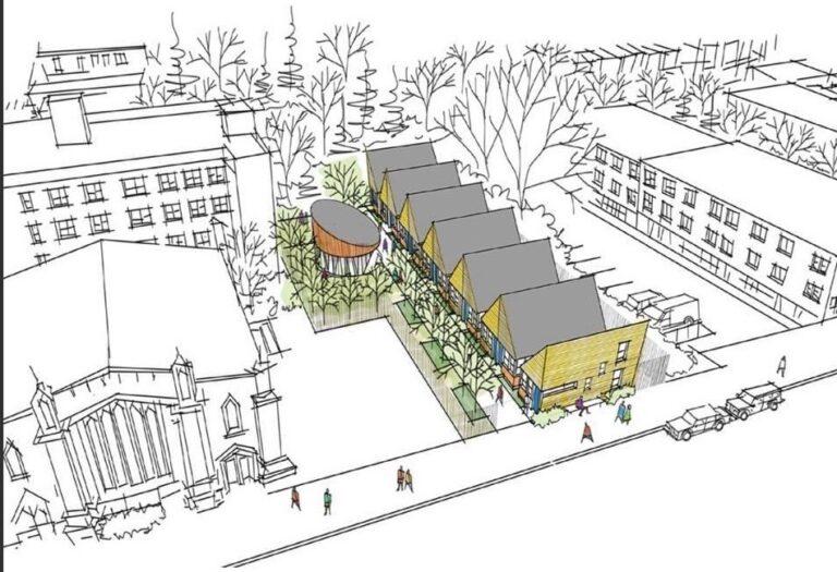 Student-Run Emergency Housing Unit of Philadelphia's project proposal for the Mill Creek Aspen Street Tiny Village. (Courtesy of SREHUP)