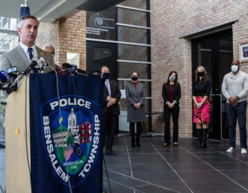 Bucks County officials speak during a press conference on Dec. 3, 2020, announcing a new program where social workers trained in crisis intervention work with police officers. (Kimberly Paynter/WHYY)