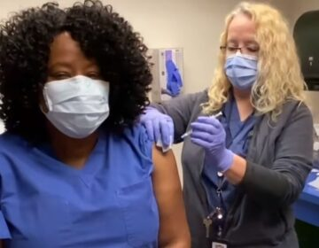 ChristianaCare's Dr. Marshala Lee gets her COVID-19 vaccine in a video posted by the Delaware Division of Public Health in an effort to get more people comfortable with receiving the vaccine. (Div. of Public Health screenshot)