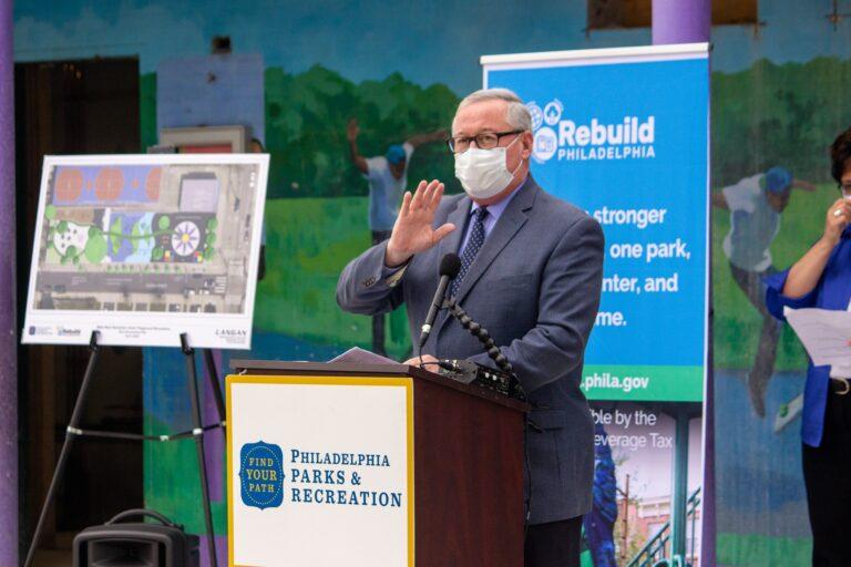 Mayor Jim Kenney speaks at a recent Parks Department ribbon-cutting. (City of Philadelphia/Facebook)