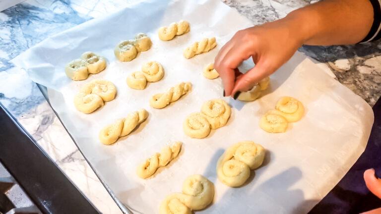 Culinary arts teacher Mrs. Mylonas shows how to make special Greek cookies
