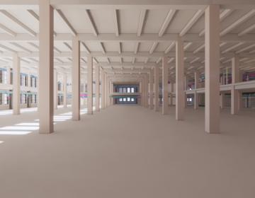 Rendering produced by RevitGods of the existing second-floor space of the former Philadelphia Inquirer Building. Now the Philadelphia Public Services Building. (Courtesy of RevitGods Inc.)