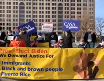 Protesters gathered in downtown Wilmington Tuesday afternoon to send a message to President-elect Biden about protecting immigrants and reforming the criminal justice system. (Facebook)