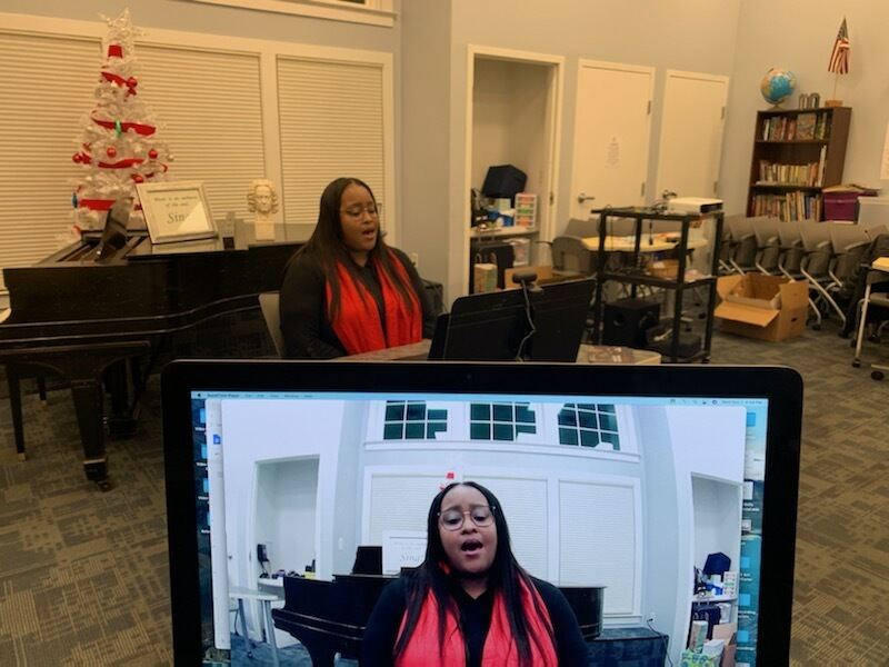 Alto Trisha Melton, one of the Choir School of Delaware's singing mentors, takes part in a recent rehearsal session via video conference.